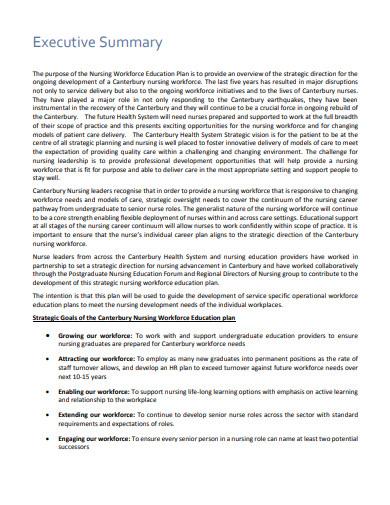 nursing workforce education plan