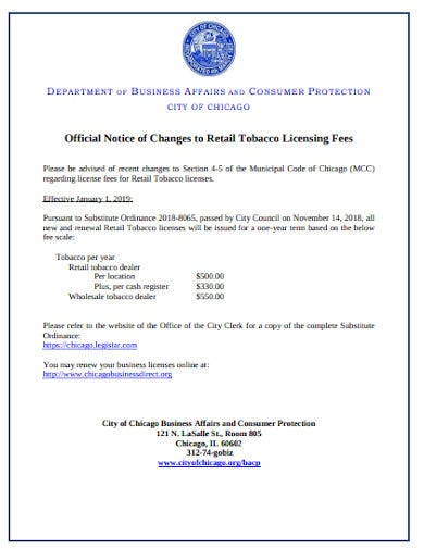 official retail notice
