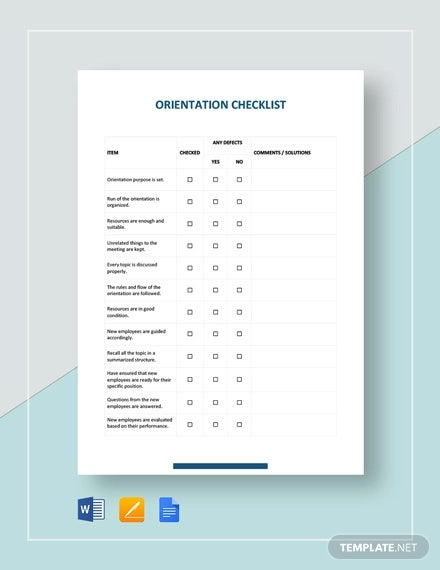 orientation checklist template
