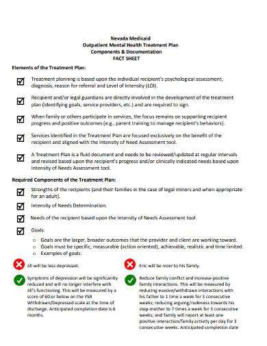 outpatient mental health treatment plan