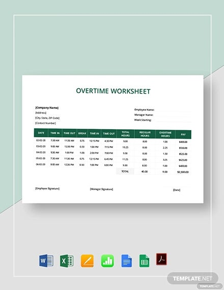 overtime worksheet template