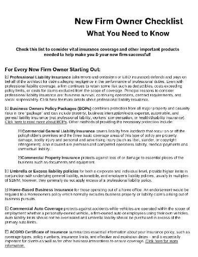 owner insurance liability checklist