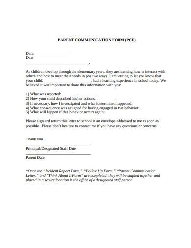 parent-communication-form-template