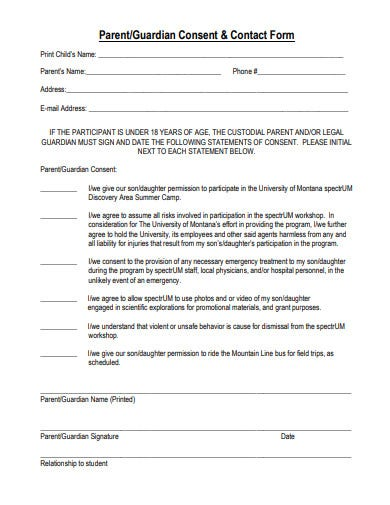 parent-consent-and-contact-form-template