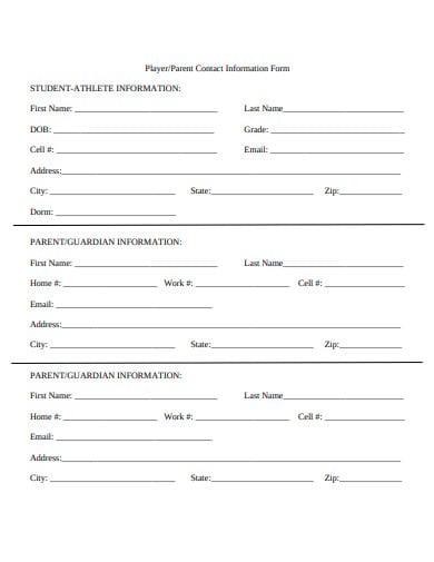 parent-contact-information-form-template