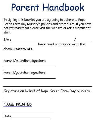 parent handbook template in pdf
