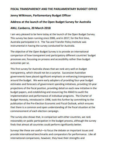 parliment office budget template