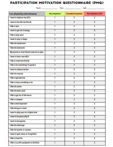participation motivation questionnaire