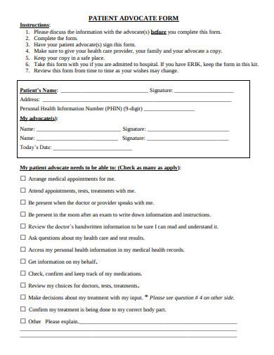 patient advocate form
