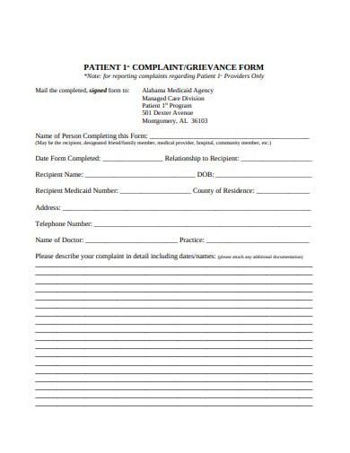 patient complaint grievance form in pdf