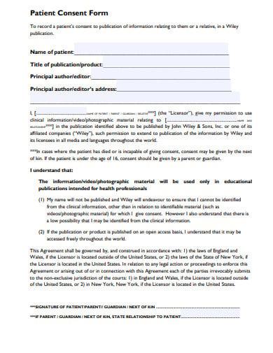 patient consent form template