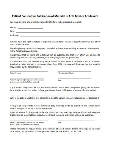 patient consent form for publication of material template