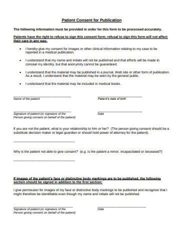 patient consent for publication template