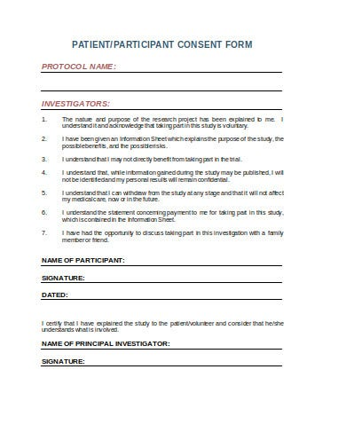 patient information and consent form template