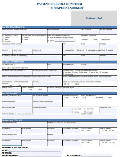 patient registration form for surgery