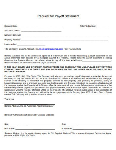 payoff request statement template in pdf