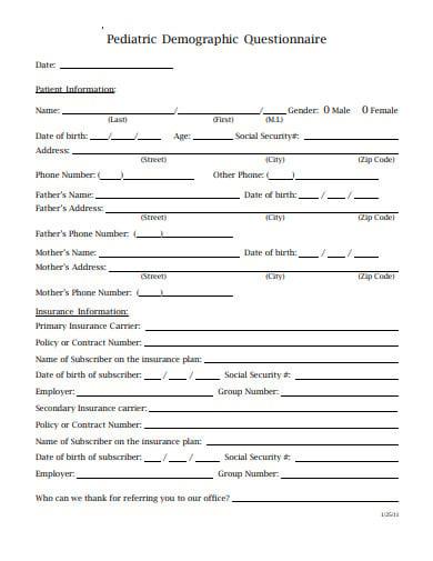 pediatric demographic questionnaire template