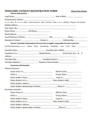pediatric patient registration form template