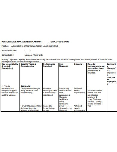 performance management plan example