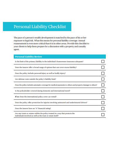 11+ Liability Checklist Templates in DOC | PDF | Free ...