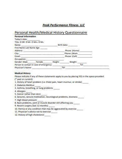 personal medical history questionnaire template