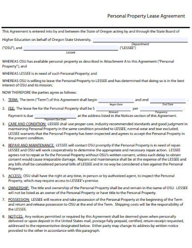 personal property lease agreement