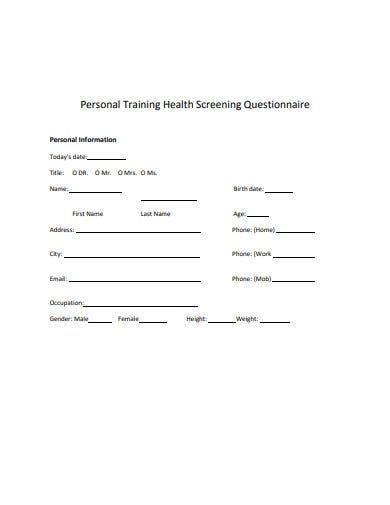 personal training health screening questionnaire