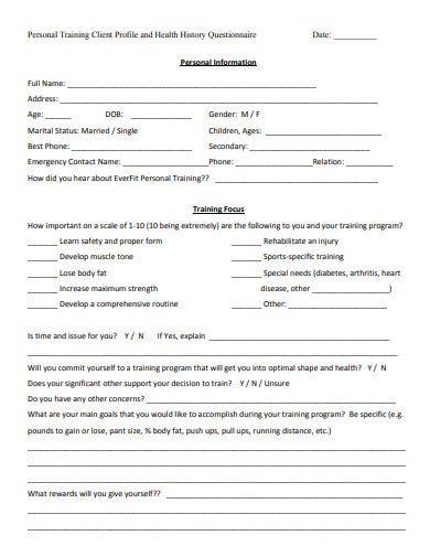 personal training questionnaire format