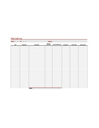 petty cash log template in pdf