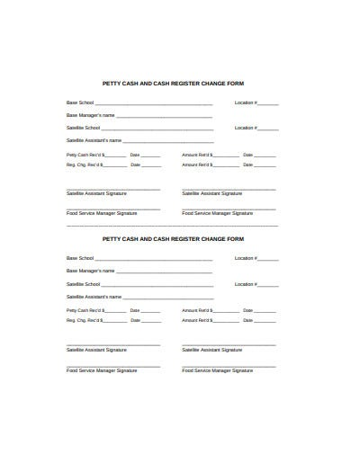 petty cash and cash register change form template