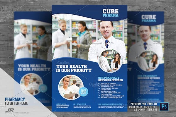 pharmacy medical services flyer in psd