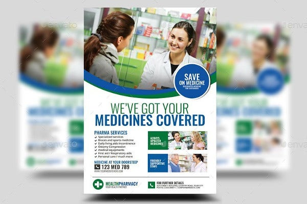 pharmacy services flyer in psd