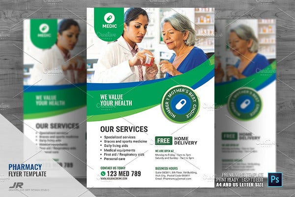 pharmacy and health services flyer template