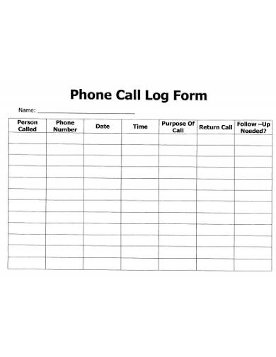 phone call log form format
