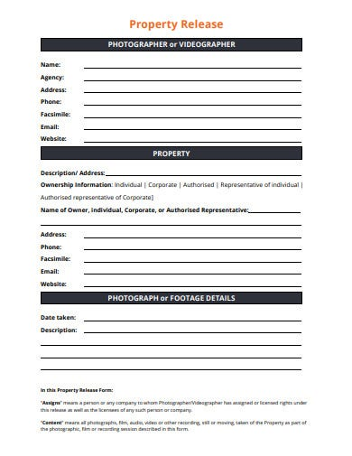 photographer property release form template