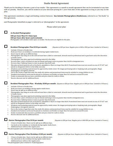 photographer studio rental agreement template