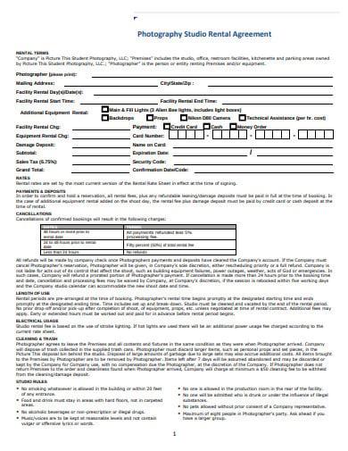photography studio rental agreement