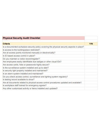 physical security audit checklist example