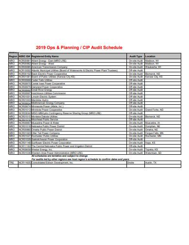planning audit schedule template