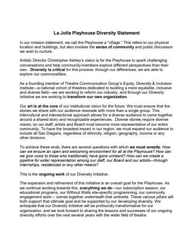 playhouse diversity statement template