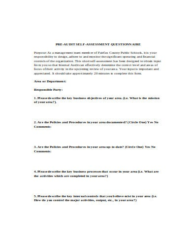 pre audit self assessment questionnaire template