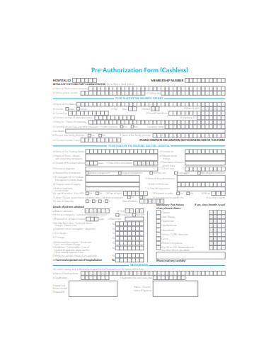 pre authorization form template