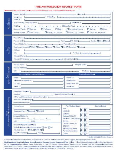 pre authorization request form template