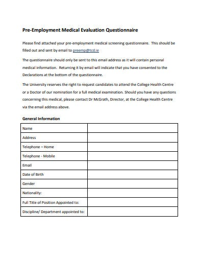 pre employment medical evaluation questionnaire template