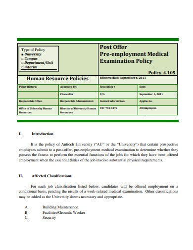 pre employment medical policy