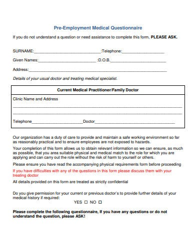 pre employment medical questionnaire template1