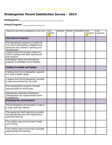 pre school parent satisfaction survey