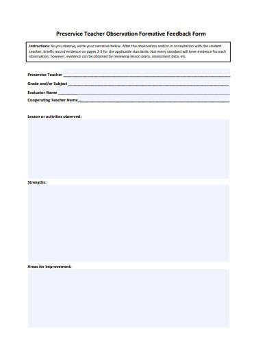 10+ Teacher Feedback Form Templates in Doc   PDF   Free