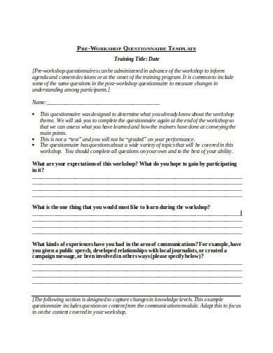 pre workshop training questionnaire template
