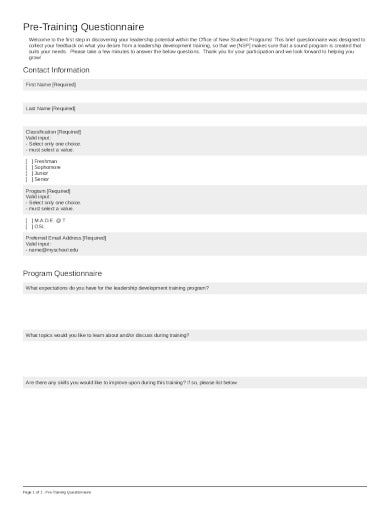 pre training questionnaire in pdf